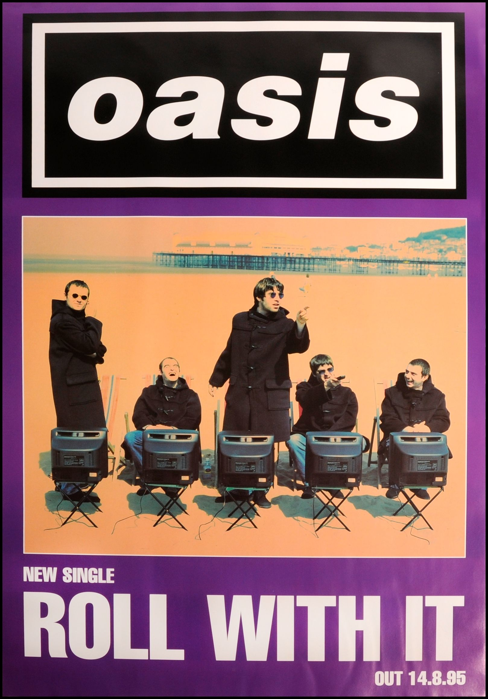 Oasis Poster Roll With It Music Poster Vintage Music Posters Music Album Covers