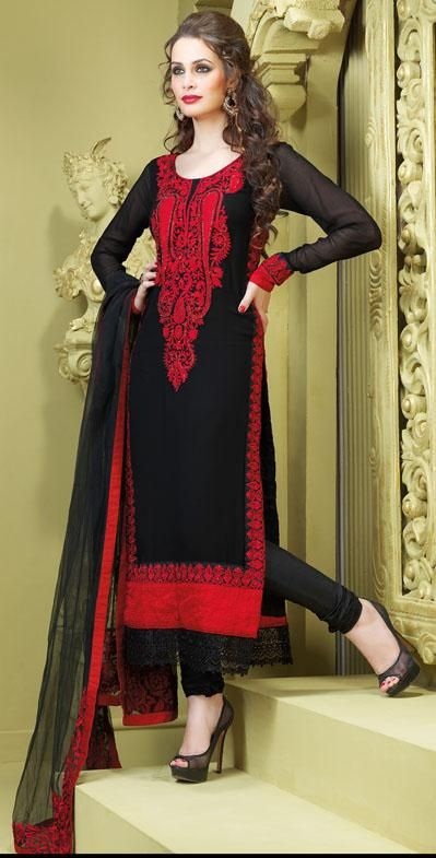 $84.61 Black Faux Georgette Thread Work Designer Churidar Salwar ...
