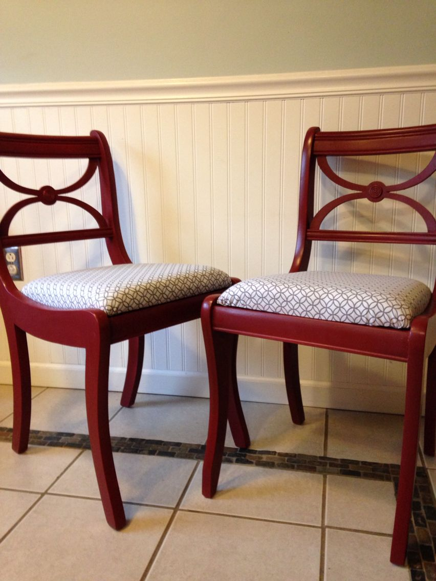 Chair makeovers using red and geometric print