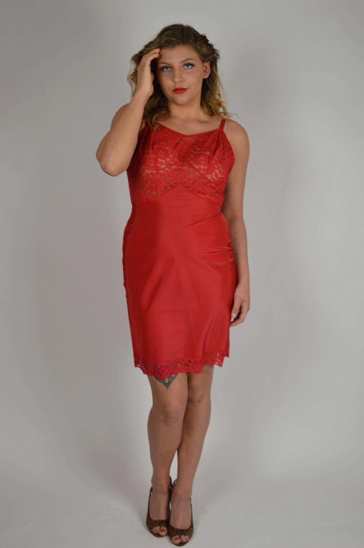 Red Slip, 1960s Slip, Dress Slips, Deep Red Slip, Lace Slip, Size ...