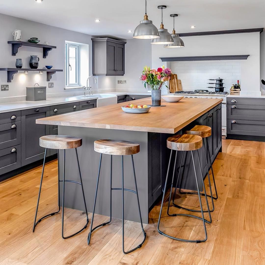 Shaker May On Instagram Like All Stylish Pieces Of Furniture Kitchen Islands Come In All Shapes And Kitchen Island Furniture Kitchen Layout Timber Kitchen