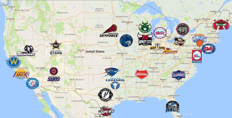 Map of NBA G League Teams | NBA Development League | Pinterest | NBA ...