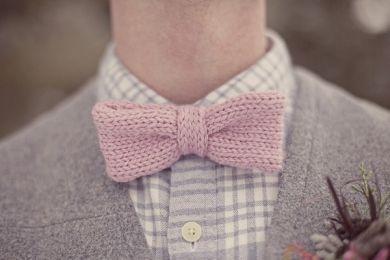 Knit bowtie pink weddings groom men's fashion bowtie