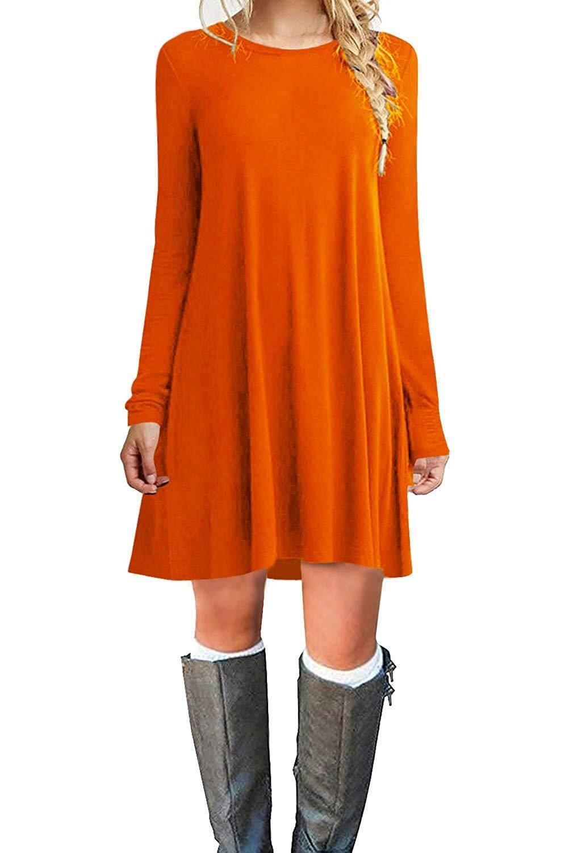 fd1fe51f1ec7 TINYHI Women's Casual Plain Fit Flowy Simple Swing T-Shirt Loose Tunic Dress
