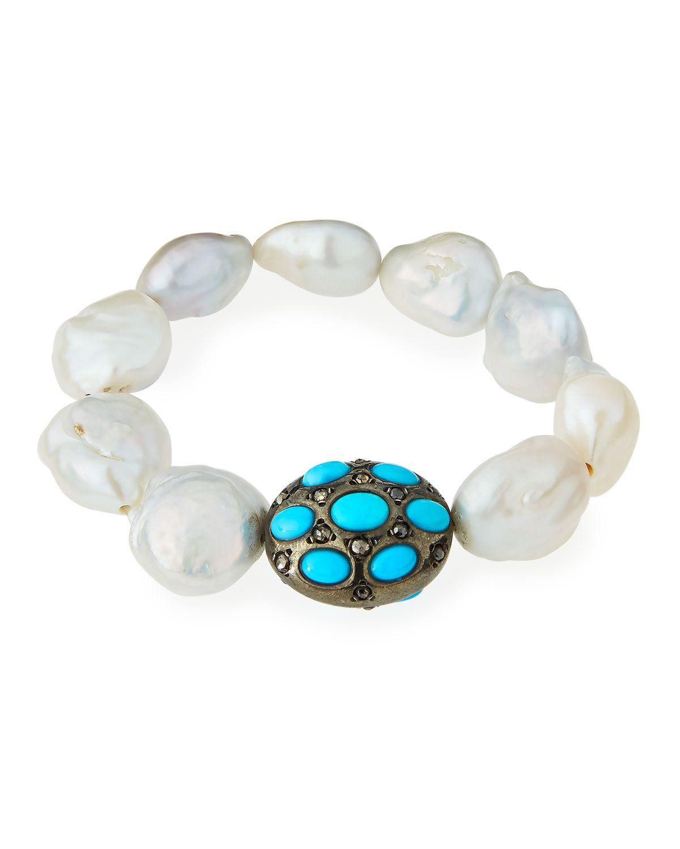 Bavna Freshwater Pearl, Turquoise & Diamond Beaded Stretch Bracelet