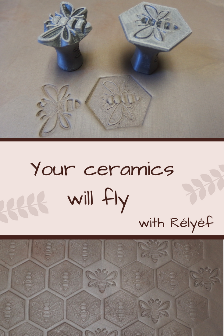 Pottery idea of bee texture made by Rélyéf pottery tools - easy use for kids and beginners  #ceramics #potterytools #relyefcz #DIY #bee