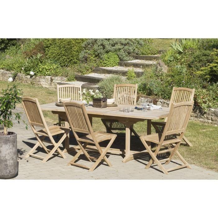 Table de jardin en bois teck massif extensible 180 - 240 x ...
