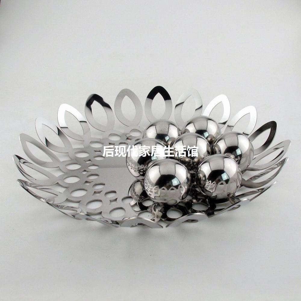 Stainless steel ornaments - Creative Fashion Stainless Steel Fruit Plate Fruit Basket Fruit Bowl Snack Tray