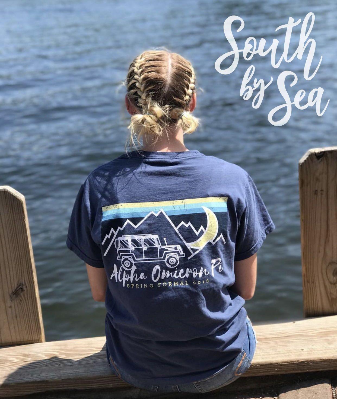 Alpha Omicron Pi Aoii Patagonia Inspired Jeep Design South By Sea Greek T Shirts Custom Greek Appare Greek Shirts Greek Clothing Custom Greek Apparel