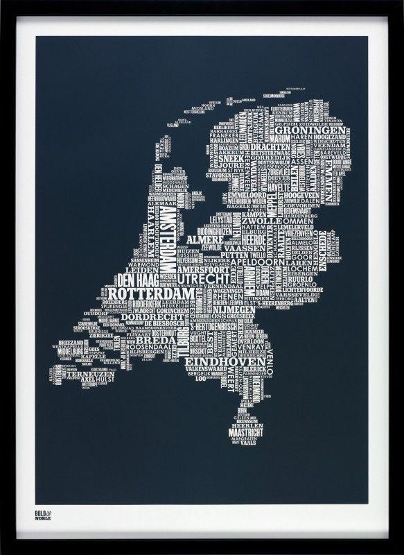 Bold Noble Netherlands type map sheer slate MAPit Pinterest