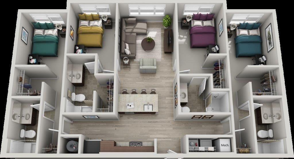 The Bristol 4 Bedroom 4 Bath 1465 Sq Ft House Layout Plans Apartment Layout Sims House Plans