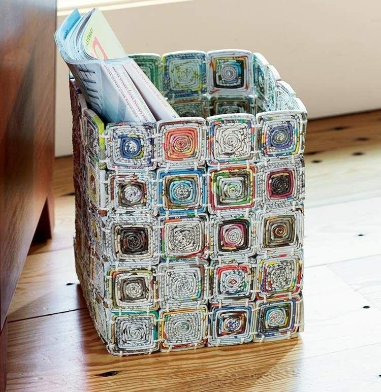 aus zeitungspapier lassen sich verschiedene gebrauchsgegenst nde gestalten basteln basteln. Black Bedroom Furniture Sets. Home Design Ideas