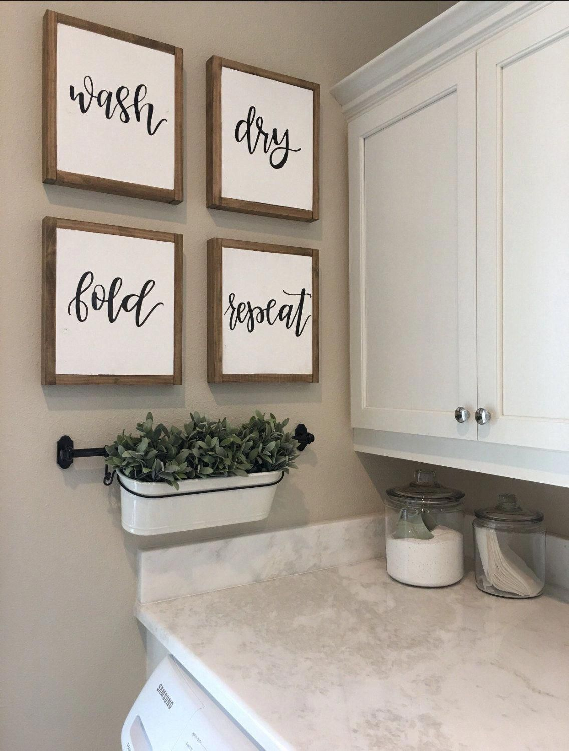 Set Of Four Signs Wash Dry Fold Repeat Sign Reclaimed Sign Etsy Homedecorrustic Laundry Room Wall Decor Laundry Room Signs Laundry Room Decor