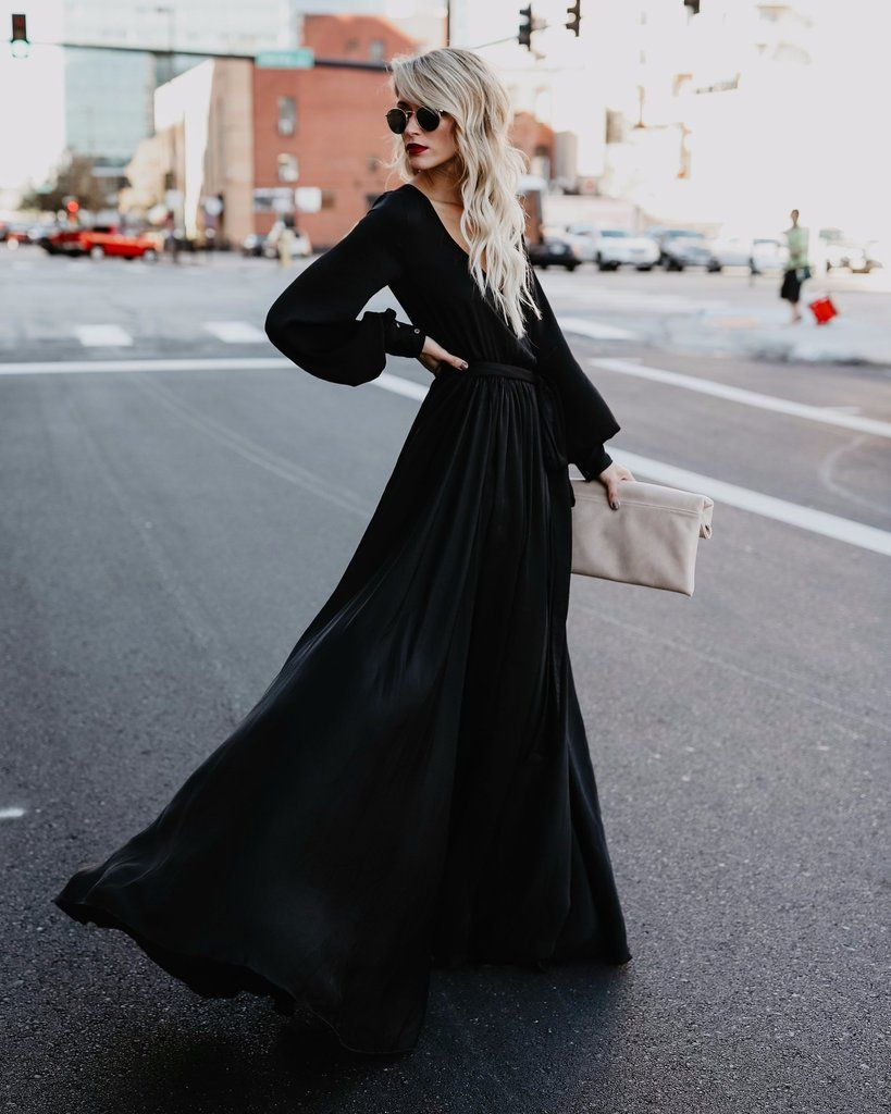 Opulent long sleeve diana maxi dress black modestfashion