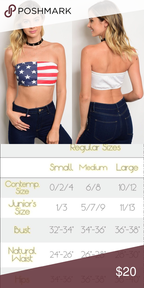 06e94353cc American Flag Strapless Tube Crop Top New with tags. Layer this up as a  bandeau or wear on its own. Perfect for festival season