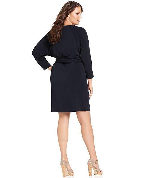 MICHAEL Michael Kors Plus Size Dress, Long-Sleeve Belted ...