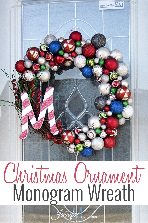 Christmas Ornament Wreath  #christmas #decorating #monogram #ornamentwreath #wreath