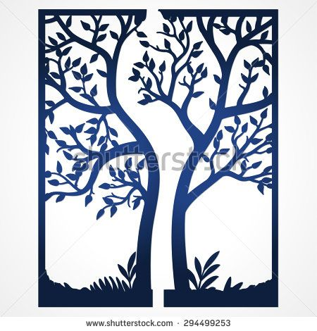 Two Fold Wedding Invitation Template With Tree Suitable For Laser Cutting Lazercut Card Abstract Frame Cut Out