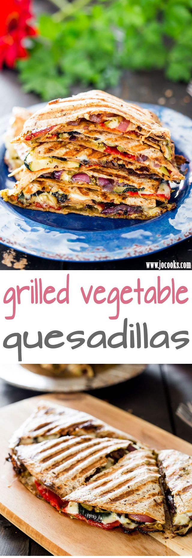 Grilled Vegetable Quesadillas with fresh mozzarella cheese and pesto - using fresh ingredients found at your local market, these quesadillas are perfect for a healthy lunch or dinner. #grillingrecipes