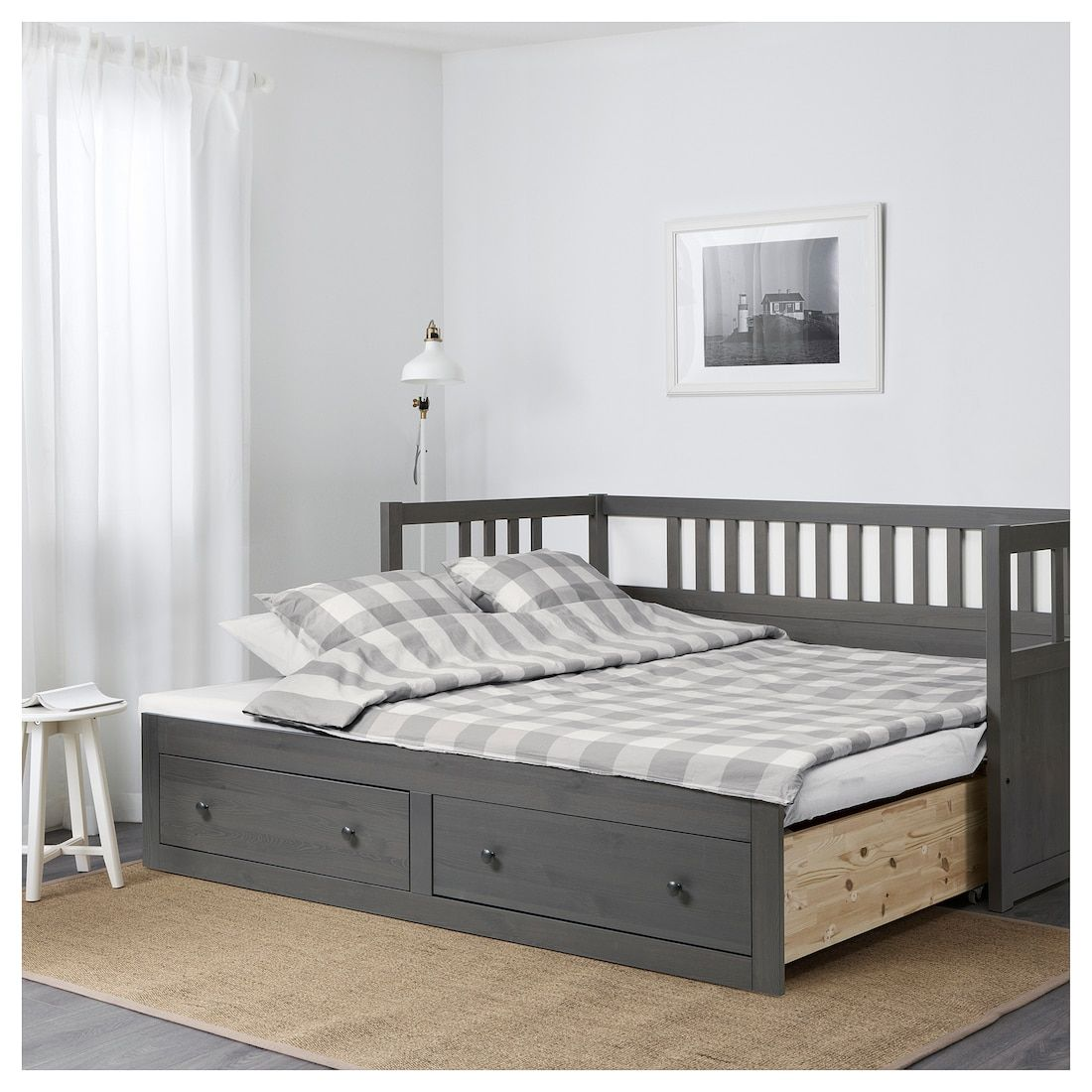 - HEMNES Daybed With 2 Drawers/2 Mattresses - Gray Stained
