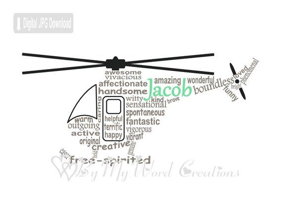 Personalized Helicopter Digital Word Art, Helicopter Wall Art, Air
