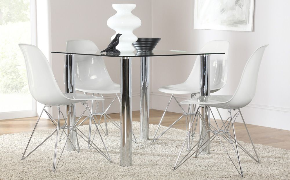 Nova Square Glass U0026 Chrome Dining Table And 4 DSR Chairs Set (Helix White)