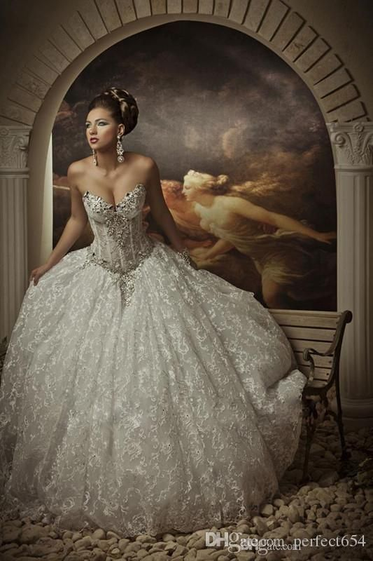 Lace Ball Gown Wedding Dresses With Rhinestones Sweetheart Corset ...