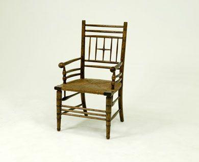 Bausman 3323 William Morris Arm Chair Rush Or Wood Seat 23 25w