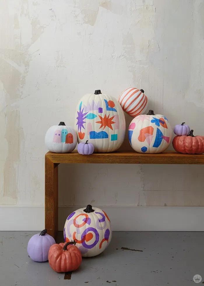 Tissue paper decoupage pumpkins, for gourdness sake