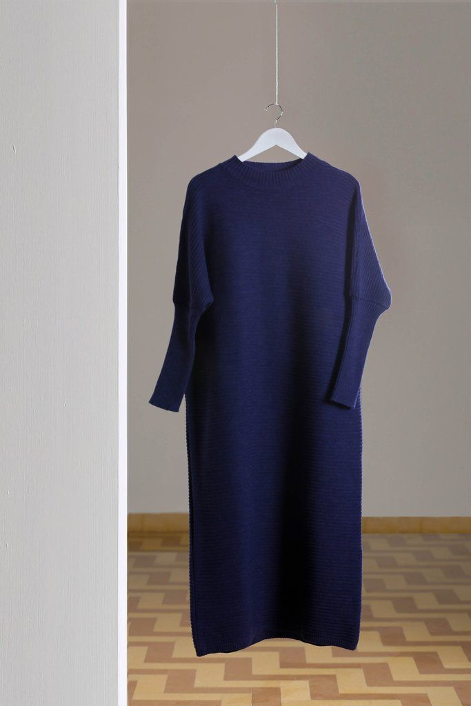 283364be27 Navy Maxi Knitted Dress