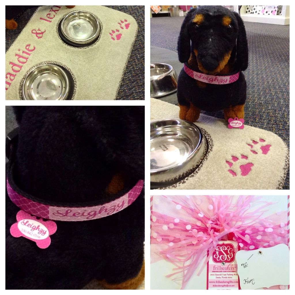 4b8b85431f53 Paw-recious Pet Mats, personalized collars and ID tags for your pup. Shop  online now at Frill Seekers.