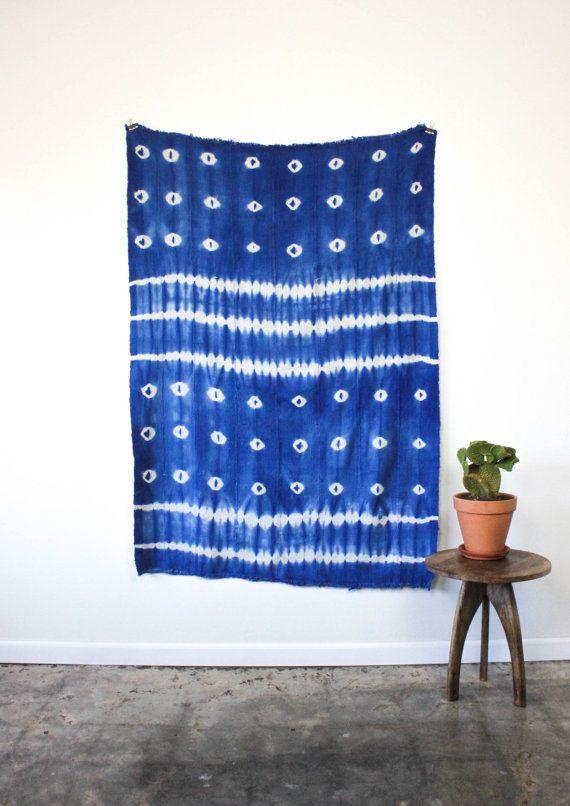 African Indigo Blue Shibori Vintage Textile Tassel Fringe