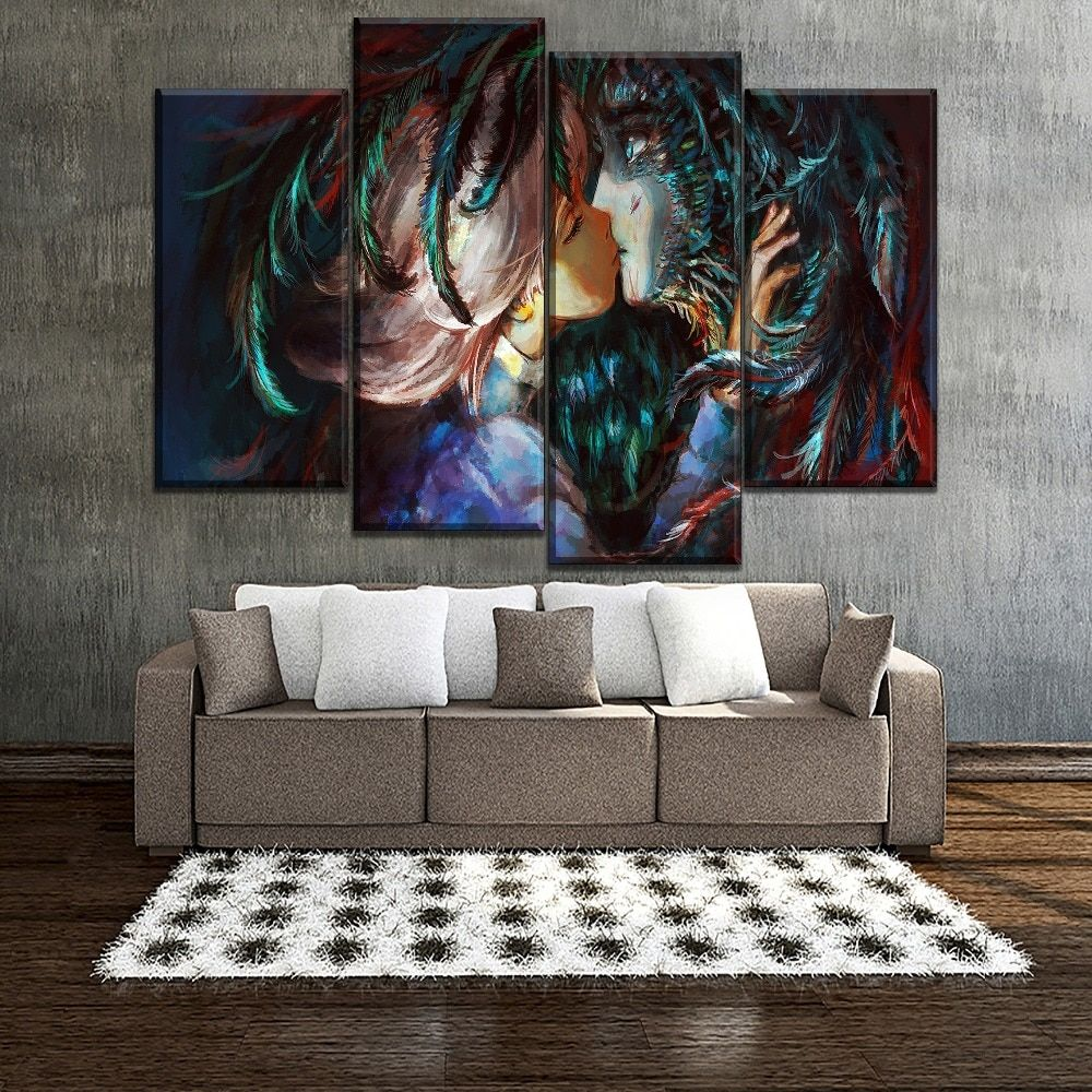 Howl S Moving Castle Love Kiss Anime 4 Pieces Canvas Wall Art Canvas Wall Art Wall Art Framed Canvas Art