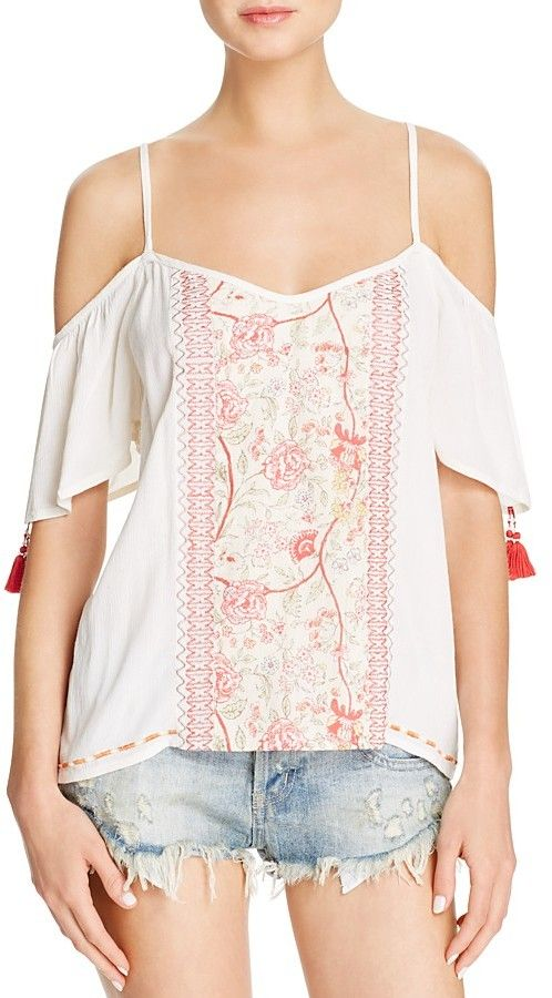Super feminine embroidered top on sale. Band of Gypsies Gauze Cold Shoulder Top