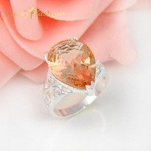 2Pcs 1 Lot Fashion Crystal Fire Morganite Wedding Jewelry Rings Russia Rings Australia Rings