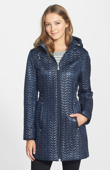Laundry By Shelli Segal Hooded Metallic Quilted Coat Regular