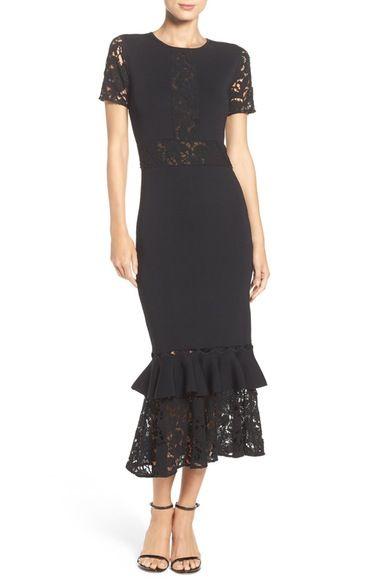 Sachin Babi Noir Lace Ponte Midi Dress Available At Nordstrom
