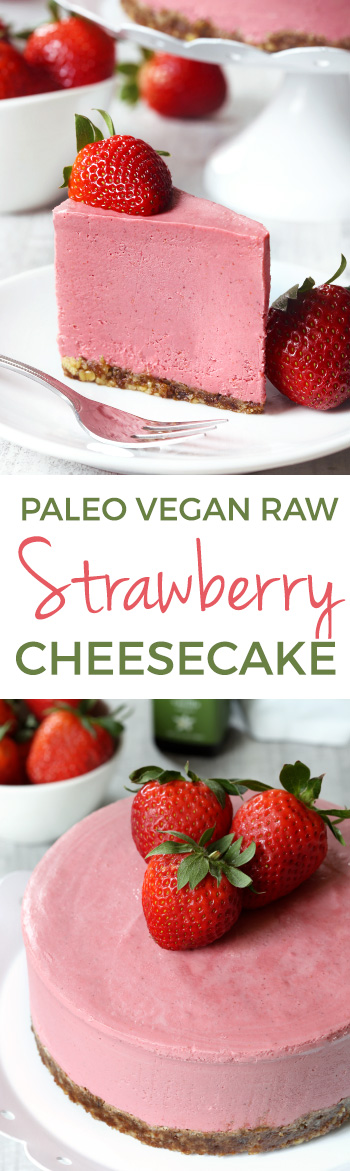 This paleo strawberry cheesecake is super creamy, vegan and raw and is loaded with extra flavor thanks to freeze-dried strawberries! #freezedriedstrawberries