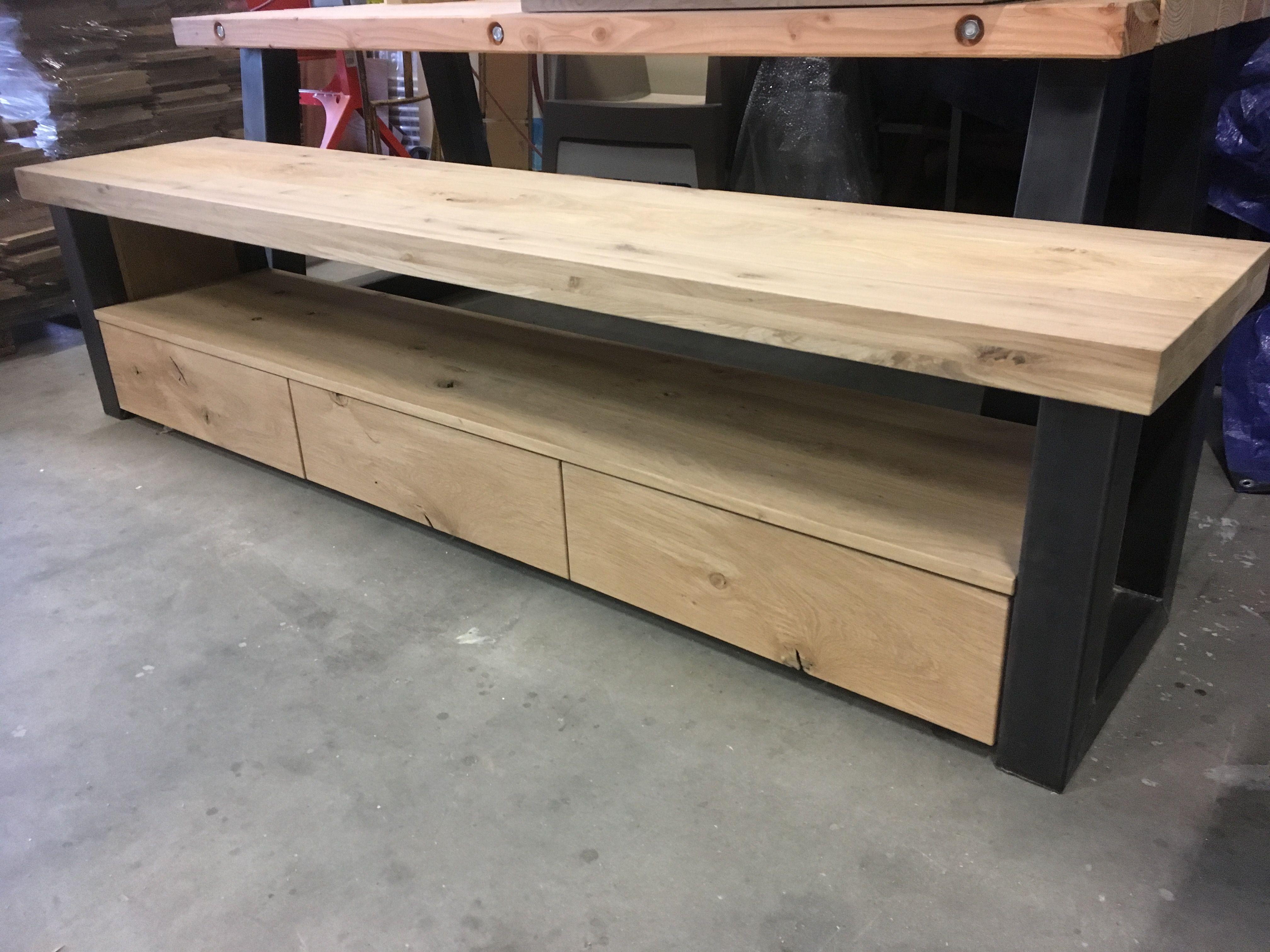 massief eiken staal tv meubel meubels