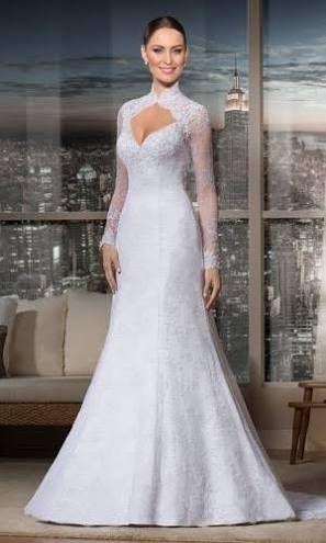 vestido nova noiva de manga rendada - Pesquisa Google
