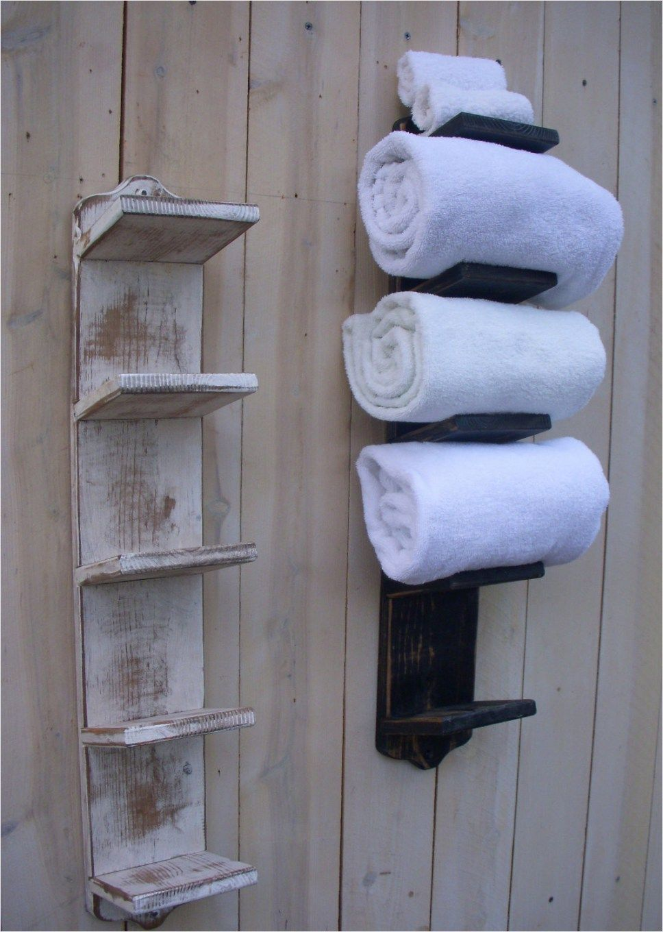 40 Creative Ideas White Rustic Bathroom Shelves That Will Make Your Bathroom Stunning Viral Decora In 2020 Wall Towel Racks Bathroom Towel Storage Bath Towel Storage