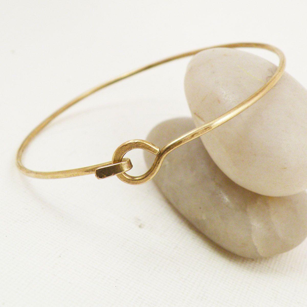 Hammered Bangle Bracelet Hook and Latch Minimalist Brass Jewelry ...