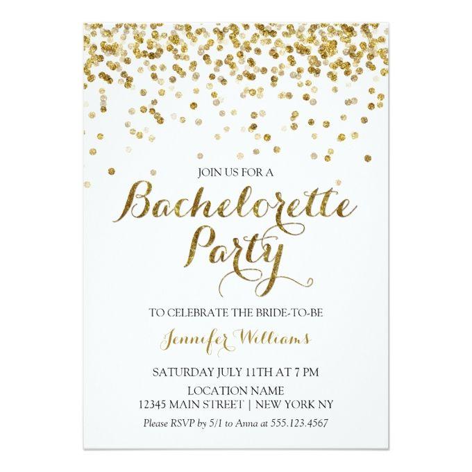 Gold Glitter Confetti Bachelorette Party Invite Glitter Wedding