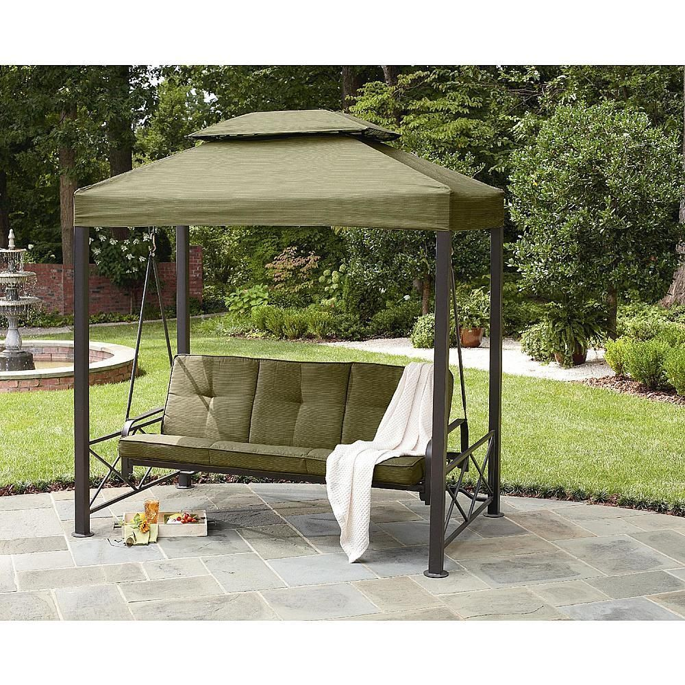 Details about gazebo outdoor 3 person swing lawn garden for Easy porch swing