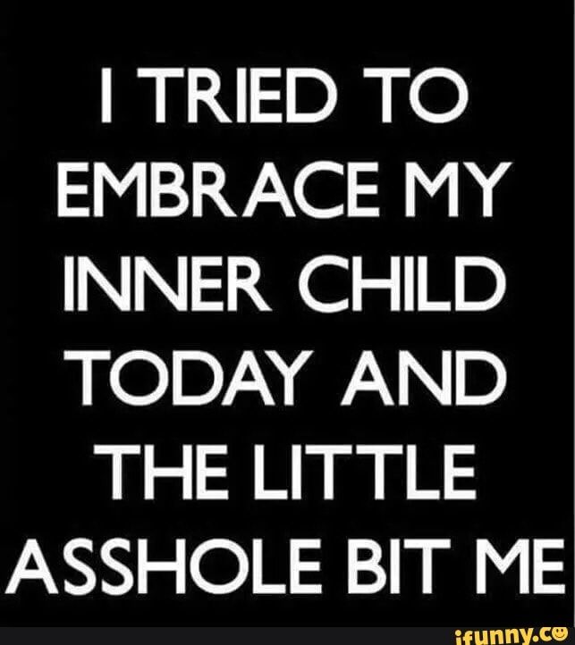I TRIED TO EMBRACE MY INNER CHILD TODAY AND THE LITTLE ASSHOLE BIT ME' - )