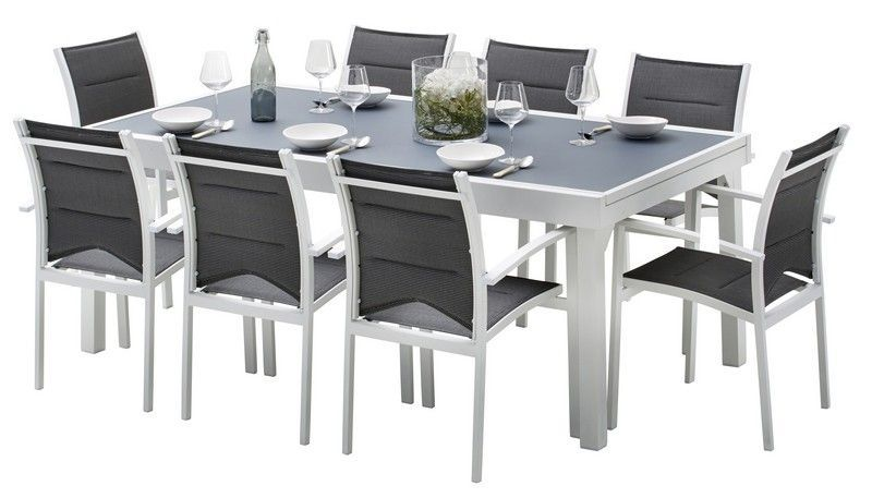 Ensemble salon de jardin Modulo 8 places blanc/gris perle ...