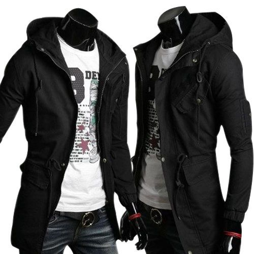 Details about Mens Slim Fit Coat Hoodies Long Trench Parka Hooded ...