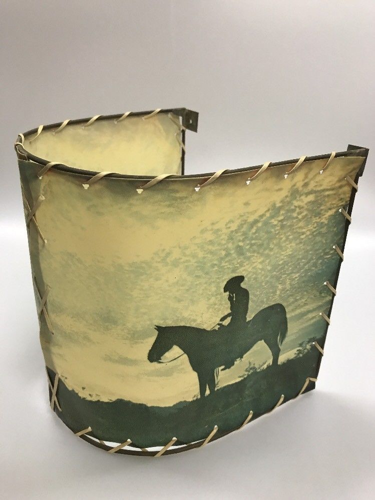 Vintage western cowboy on horse half lamp shade wall mount smoking vintage western cowboy on horse half lamp shade wall mount smoking silhouette mozeypictures Gallery