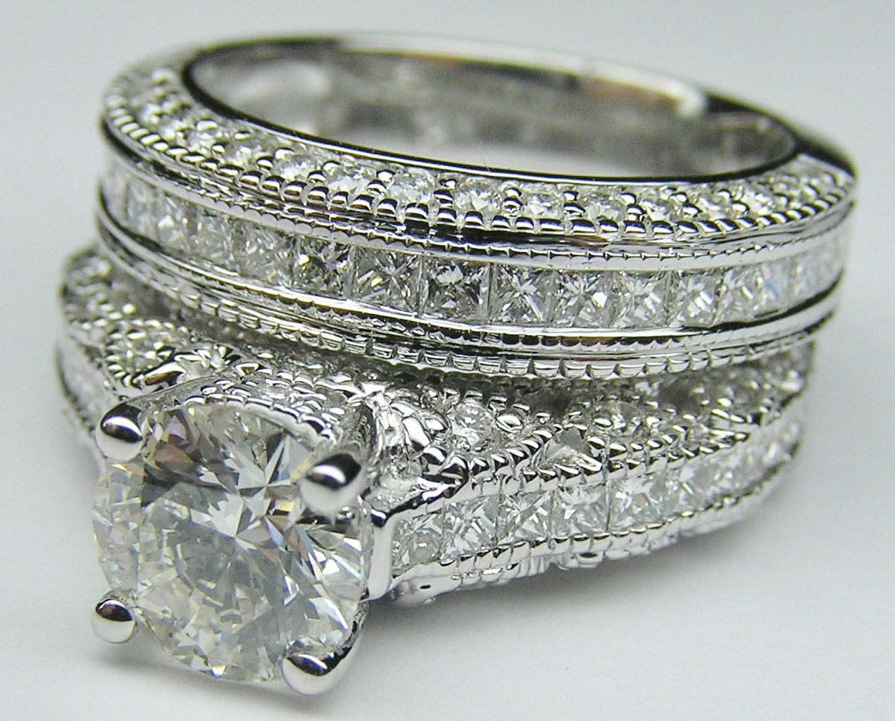 Vintage Three Side Pave Engagement Ring & Matching Wedding Ring in White Gold