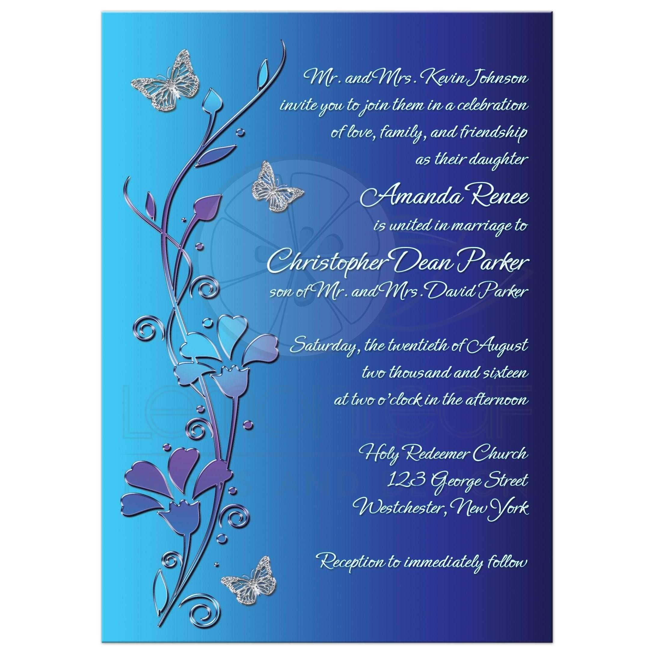Wedding Invitation Royal Blue Turquoise Mauve Flowers Silver Erflies